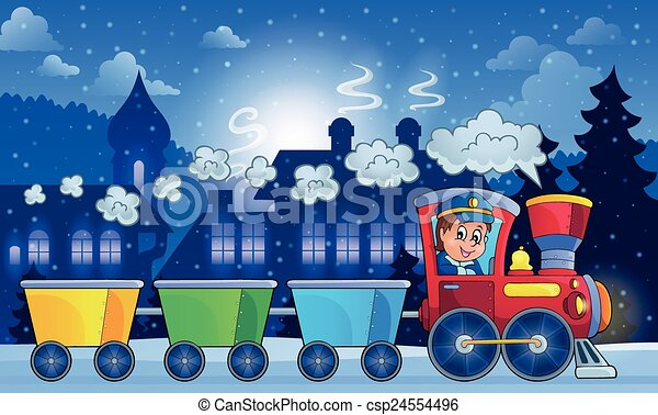 Winter town with train - csp24554496