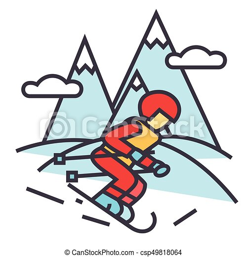 winter travel skier skiing in high mountains concept line clip rh canstockphoto ca skier clipart skier clipart images