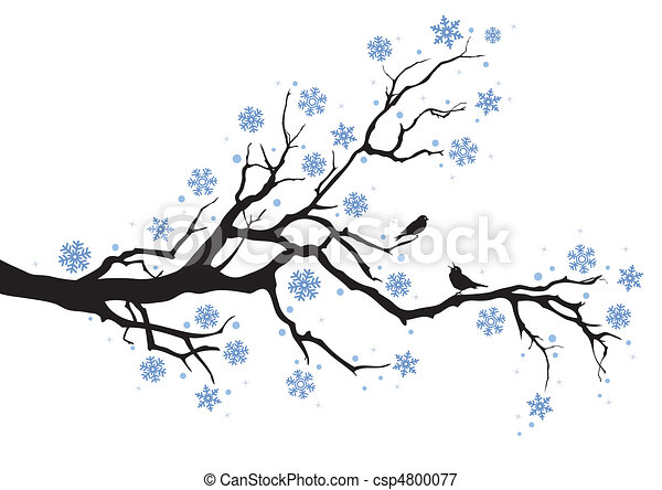 Winter clipart and stock illustrations 501683 winter vector eps winter tree branch winter tree with snowflakes and birds voltagebd Choice Image
