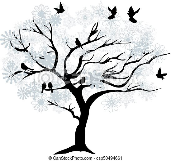 Winter Tree | Vector Winter Tree With Snowflakes