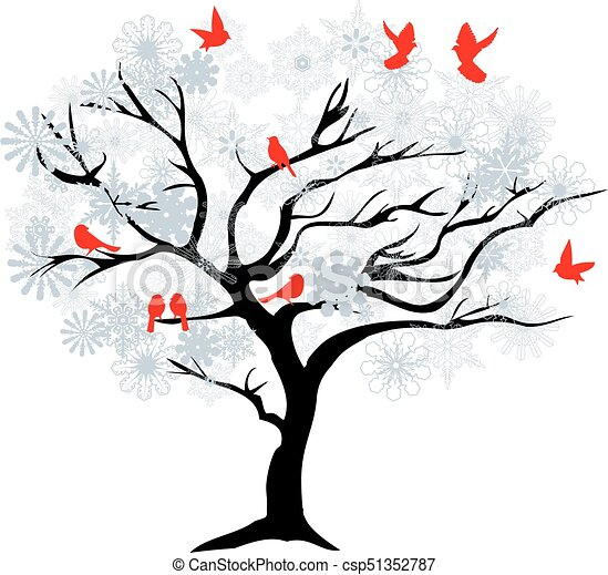 winter tree vector christmas tree with red birds vector search rh canstockphoto com winter tree clipart png winter tree clipart black and white