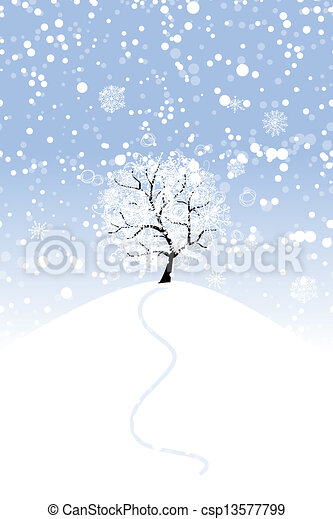 Winter tree on hill for your design - csp13577799