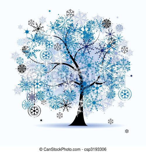 Winter tree, snowflakes. Christmas holiday. - csp3193306