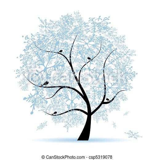 Winter tree, snowflakes. Christmas holiday.  - csp5319078