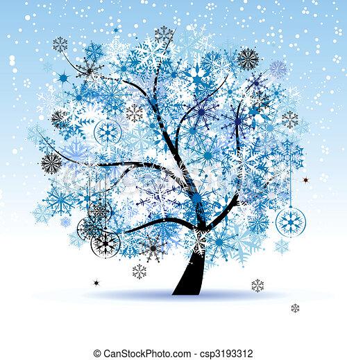 winter tree snowflakes christmas holiday