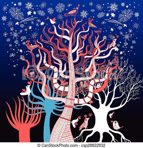winter tree with birds - csp28822832