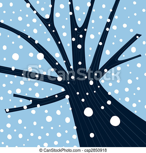 Winter tree with falling snow tree with winter weather vector winter tree with falling snow csp2850918 voltagebd Images