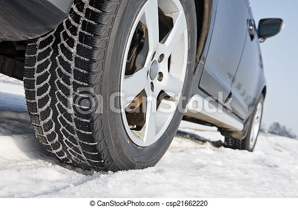 Winter tyres wheels installed on suv car outdoors - csp21662220