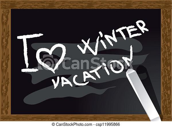 I Love Winter Vacation Inscription On The Blackboard