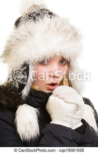 b949b9e776eb5 Winter vacation. freezing girl warming her hands. Winter vacation ...
