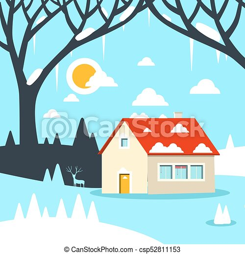 winter vector flat design landscape with house on field clipart rh canstockphoto com winter vector background winter victorian house