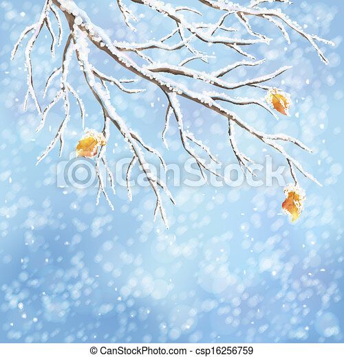 Winter vector snow-covered frost branch background - csp16256759