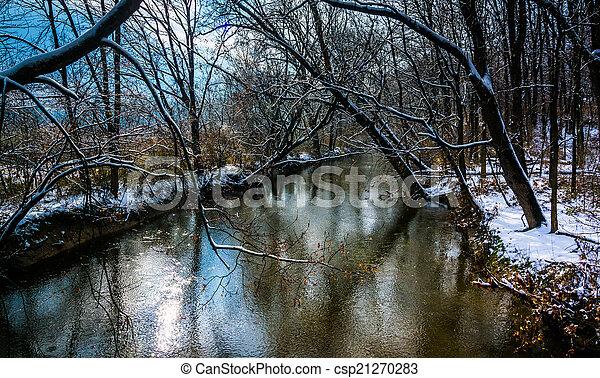 Winter view of Codorus Creek, in rural York County, Pennsylvania - csp21270283