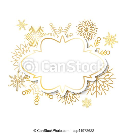 Winter vintage label on snowflakes background