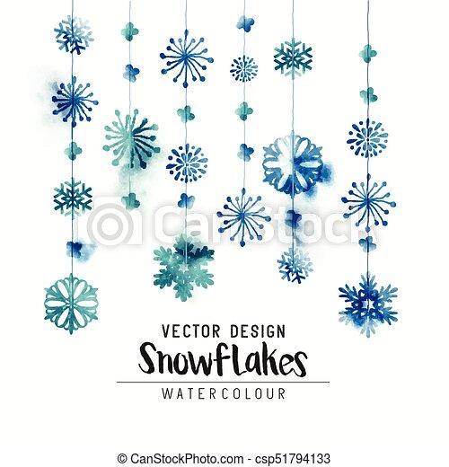 Christmas Snowflakes.Winter Watercolor Snowflakes