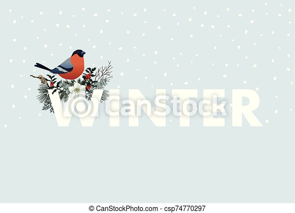 Winter web banner. Bullfinch bird sitting on W letter. Floral garland of pine tree branches, cranberries and narcissus flowers. Vintage design. Vector illustration background with falling snow. - csp74770297