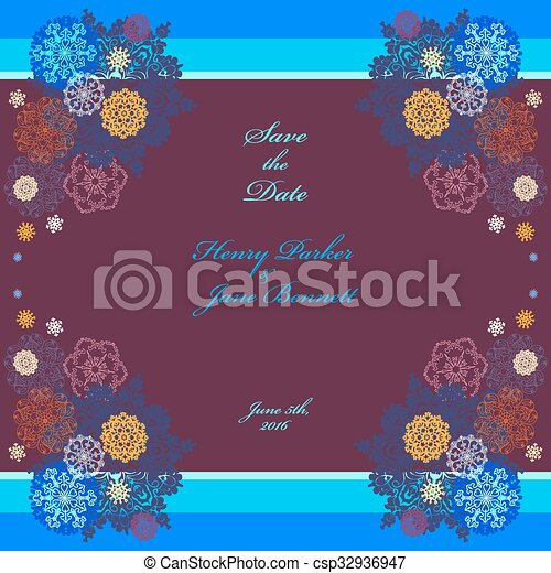 Winter wedding frame with violet and blue snowflakes
