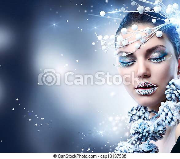 Winter Woman. Christmas Girl Makeup  - csp13137538