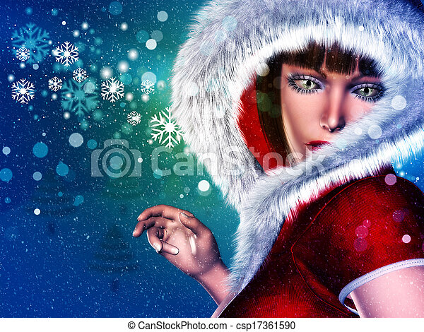 Winter woman in red outfit - csp17361590