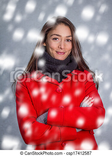 winter woman in the snow - csp17412587