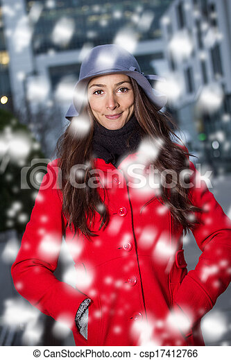 winter woman in the snow - csp17412766