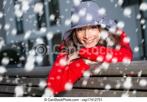 winter woman in the snow - csp17412751