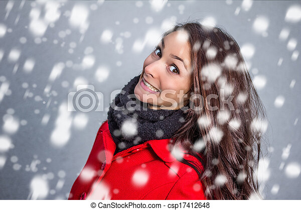 winter woman in the snow - csp17412648