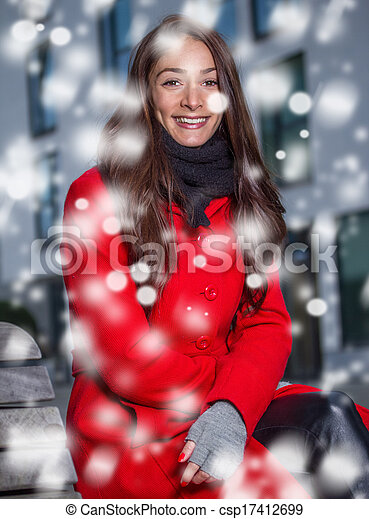 winter woman in the snow - csp17412699