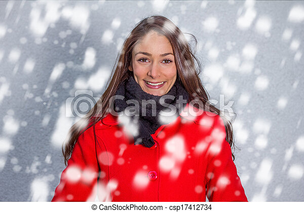 winter woman in the snow - csp17412734