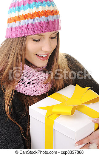 Winter woman with gift box - csp8337868