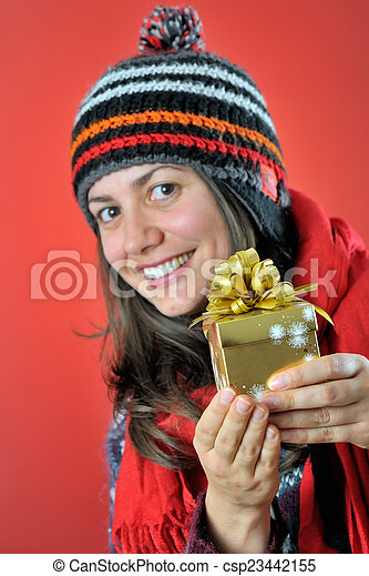 winter woman with gift - csp23442155