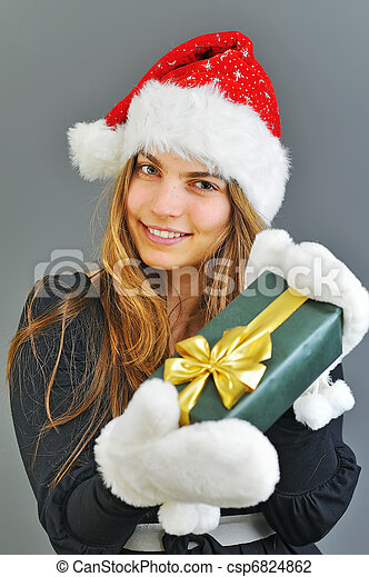 winter woman with gift - csp6824862