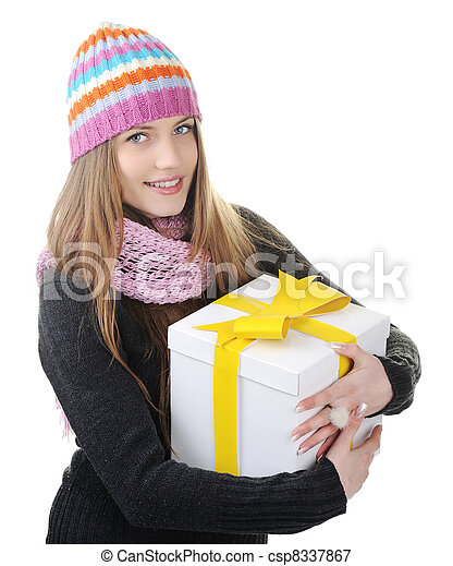 Winter woman with present box, gift - csp8337867