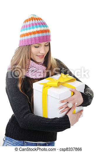Winter woman with present box, gift - csp8337866