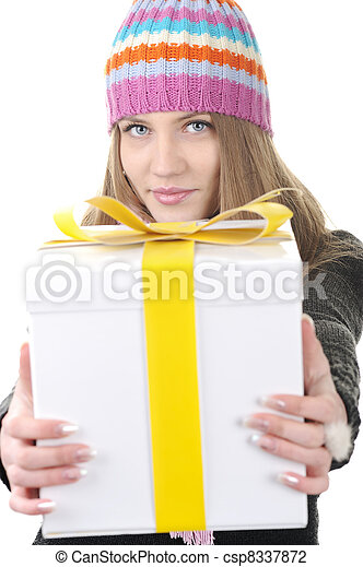 Winter woman with present box, gift - csp8337872