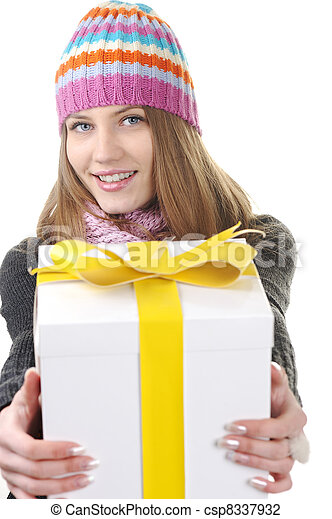 Winter woman with present box, gift - csp8337932