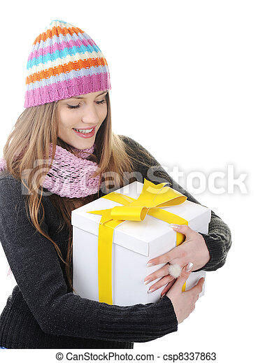 Winter woman with present box, gift - csp8337863