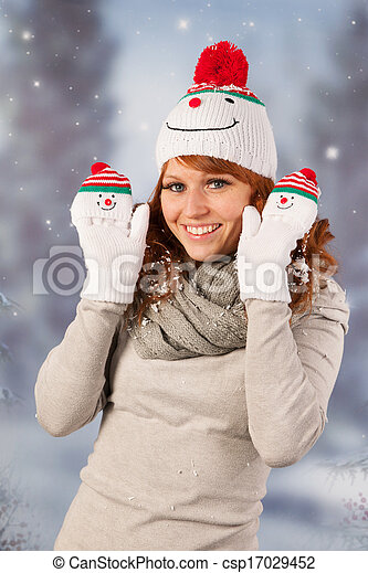 ab8a2165aed3a Winter woman with snowman hat. Portrait of woman in winter with snow ...