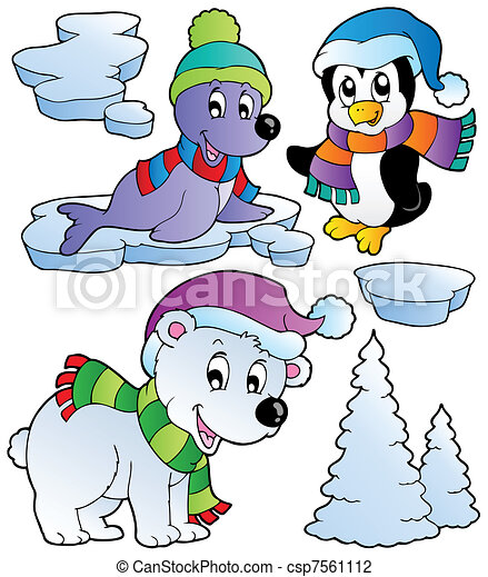 Wintertime animals collection 2 - csp7561112