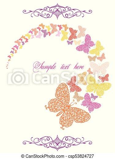 wiosna, motyle, karta - csp53824727