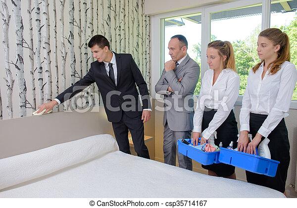 wiping a headboard - csp35714167
