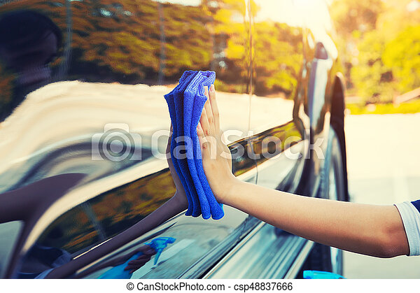 wiping on car - csp48837666