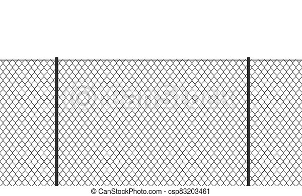 Wire chain-link fence. Vector steel woven net pattern illustration. Safety metal net barrier. Prison iron gate security fencing. Simple black texture - csp83203461