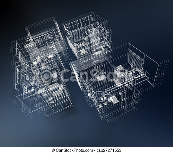 Wire frame building 3d rendering of a transparent for Home design 3d professional italiano gratis