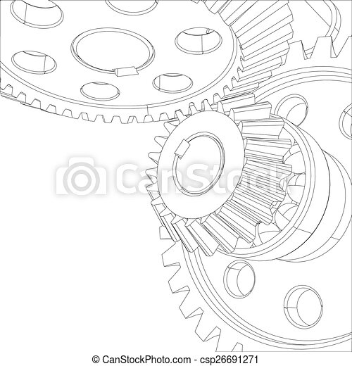 Wire-frame gears with bearings and shafts. Close-up. Vector - csp26691271