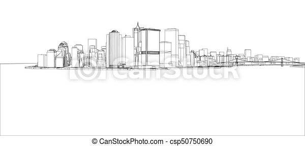 Wire frame new york city blueprint style wire frame new york city blueprint style csp50750690 malvernweather Image collections