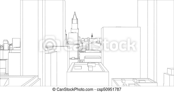 Wire frame new york city blueprint style 3d rendering vector wire frame new york city blueprint style csp50951787 malvernweather Image collections