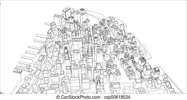 Wire frame new york city blueprint style 3d rendering vectors wire frame new york city blueprint style csp50618534 malvernweather Gallery