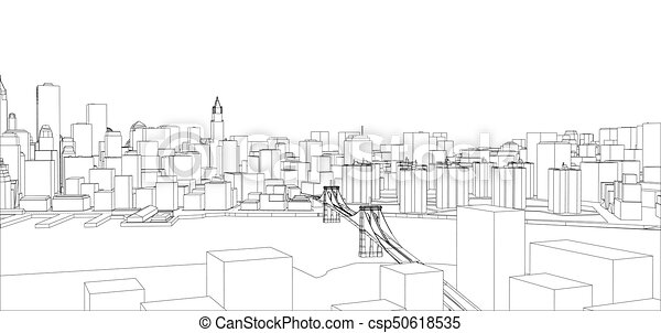 Wire frame new york city blueprint style 3d rendering vector wire frame new york city blueprint style csp50618535 malvernweather Choice Image