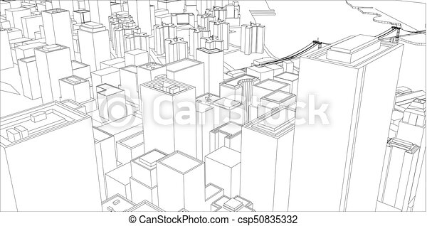 Wire frame new york city blueprint style 3d rendering vectors wire frame new york city blueprint style csp50835332 malvernweather Images